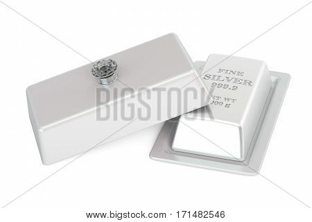 Financial concept. Silver bar on a platter with open lid 3D rendering isolated on white background