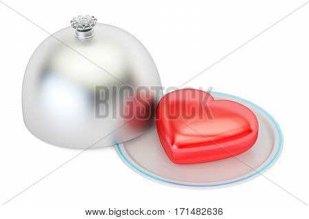 Heart on a silver platter valentines day concept. 3D rendering isolated on white background