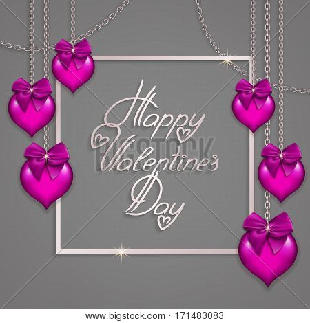 Elegant template for design of luxury invitation, gift, greeting card, flyer, poster with hearts, bows, chains, silver frame. Happy Valentine s day festive background. Vector illustration EPS 10.