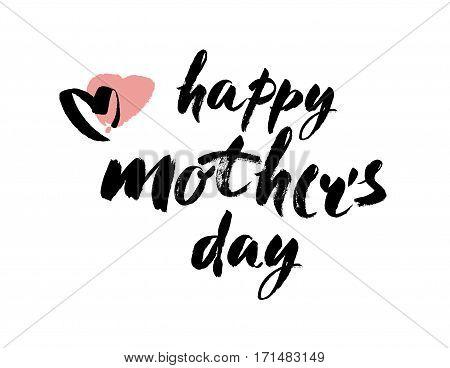 Happy mothers day hand lettering handmade calligraphy. Brush Lettering Design. vector illustration