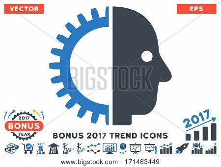 Smooth Blue Cyborg Head icon with bonus 2017 trend pictures. Vector illustration style is flat iconic bicolor symbols white background.
