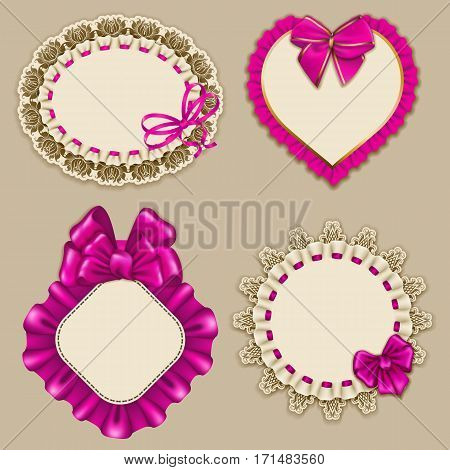 Set of elegant templates ornate frames for design luxury invitation, gift, greeting card, postcard with lace ornament, ruffles, pink bows, ribbons, place for text. Vector illustration EPS10