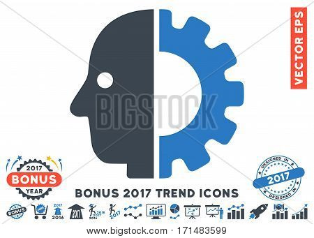 Smooth Blue Cyborg Head icon with bonus 2017 year trend pictograph collection. Vector illustration style is flat iconic bicolor symbols white background.