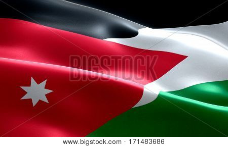 Flag Of Jordan Strip Waving Texture Fabric Background, National Symbol Arabic Culture