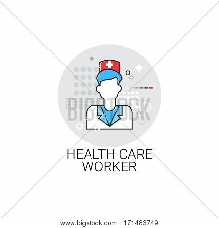 Health Care Worker Hospital Doctors Clinic Medical Treatment Icon Vector Illustration