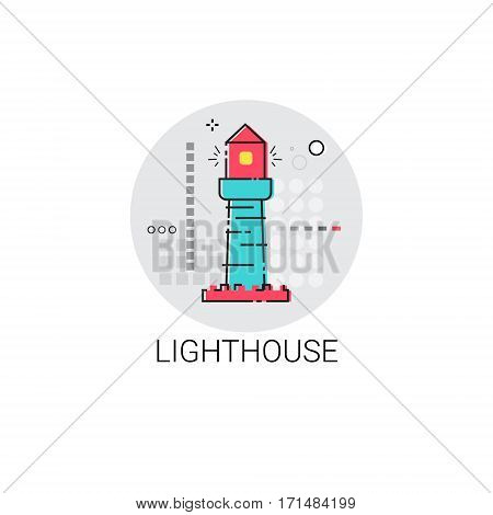 Lighthouse Sea Navigation Signal Icon Vector Illustration