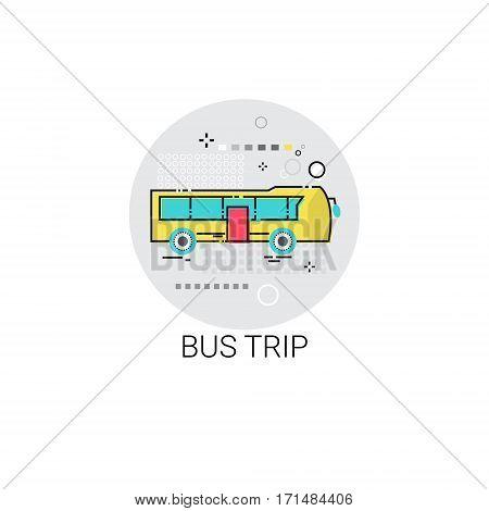 Bus Trip Tour Tourism Transport Icon Vector Illustration