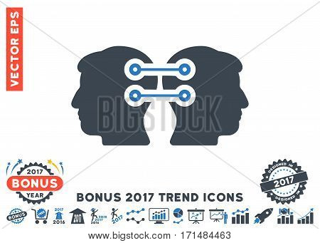 Smooth Blue Dual Heads Interface Connection pictograph with bonus 2017 trend pictures. Vector illustration style is flat iconic bicolor symbols white background.