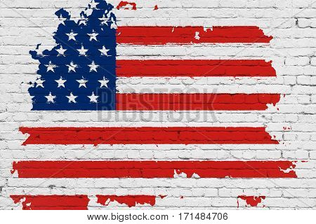 United States Of America Flag On White Brick Wall Background, Splash Painted With Watercolor Effect