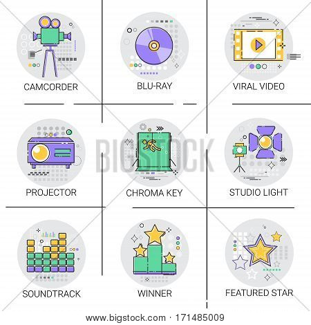 Movie Projector Film Cinema Production Technology Icon Set Studio Light Soundtrack Collection Vector Illustration