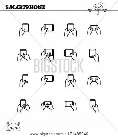 Hand with smarphone, tablet icon set. Collection of high quality outline symbols for web design, mobile app. Navigation vector thin line icons or logo.