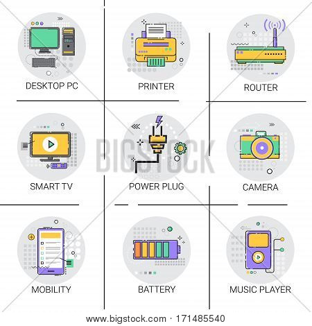 Mobility Modern Smart Gadget Printer Camera TV Player Icon Set Vector Illustration