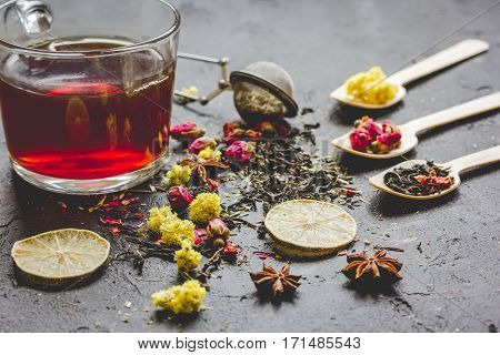 Teacup and herbs on grey stone background