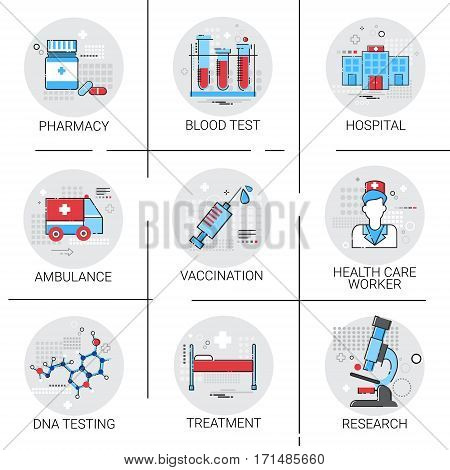 Treatment Hospital Doctors Clinic Medical Icon Set Vector Illustration