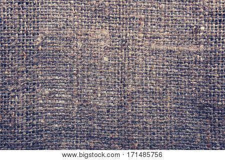 Sackcloth texture background. Old sackcloth close up. Free space for text on sackcloth textured background.