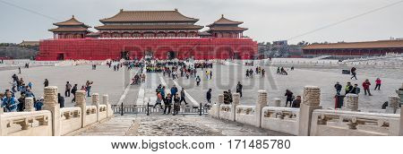 Beijing, China - Oct 30, 2016: Back of Meridian Gate (Wumen) under works. Panorama features huge central courtyard. At the Gate of Supreme Harmony (Taihemen), Forbidden City (Gu Gong, Palace Museum).