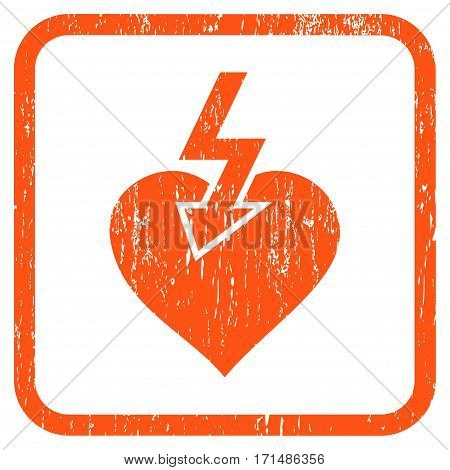 Heart Shock Strike rubber watermark. Vector icon symbol inside rounded rectangle with grunge design and dust texture. Stamp seal illustration. Unclean orange ink sticker on a white background.