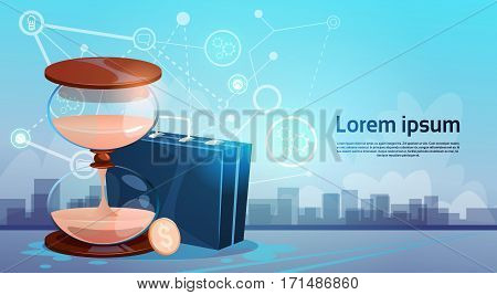 Business Briefcase Sand Watch Over Silhouette City View Flat Vector Illustration