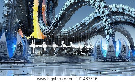 3D Illustration of organic architecture with a futuristic structure mimicking octopus tentacles and waterlilies, for fantasy or science fiction backgrounds.