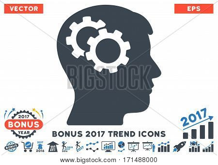Smooth Blue Intellect Gears pictograph with bonus 2017 year trend clip art. Vector illustration style is flat iconic bicolor symbols white background.
