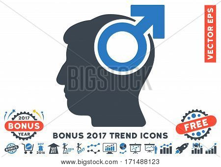 Smooth Blue Intellect Potency pictograph with bonus 2017 year trend clip art. Vector illustration style is flat iconic bicolor symbols white background.