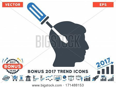 Smooth Blue Intellect Screwdriver Tuning pictograph with bonus 2017 trend elements. Vector illustration style is flat iconic bicolor symbols white background.