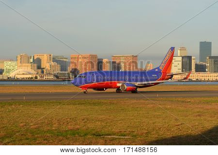 BOSTON - SEP. 26, 2015: Southwest Airlines Boeing 737-300 taxiing at Boston Logan International Airport, Boston, Massachusetts, USA.
