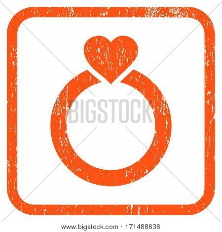 Love Ring rubber watermark. Vector pictogram symbol inside rounded rectangular frame with grunge design and unclean texture. Stamp seal illustration. Unclean orange ink sign on a white background.