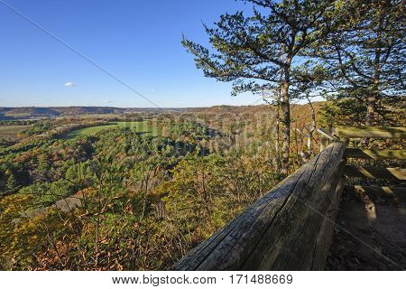 Overlook of the Countryside in Fall at Wildcat Mountain State Park in Wisconsin