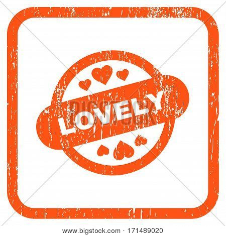 Lovely Stamp Seal rubber watermark. Vector icon symbol inside rounded rectangular frame with grunge design and dust texture. Stamp seal illustration. Unclean orange ink emblem on a white background.