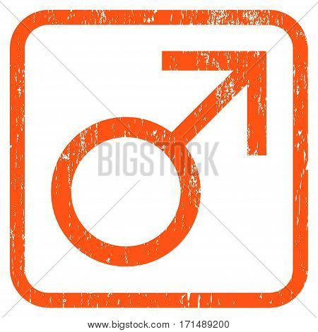 Mars Male Symbol rubber watermark. Vector icon symbol inside rounded rectangular frame with grunge design and scratched texture. Stamp seal illustration. Unclean orange ink sign on a white background.