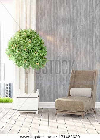 Beautiful modern living room interior with armchair. 3D rendering