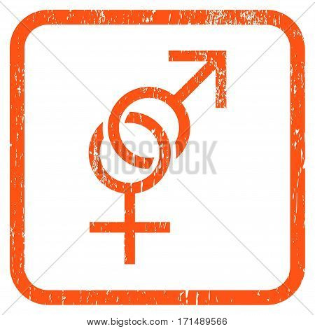 Sex Symbol rubber watermark. Vector pictogram symbol inside rounded rectangle with grunge design and dust texture. Stamp seal illustration. Unclean orange ink emblem on a white background.