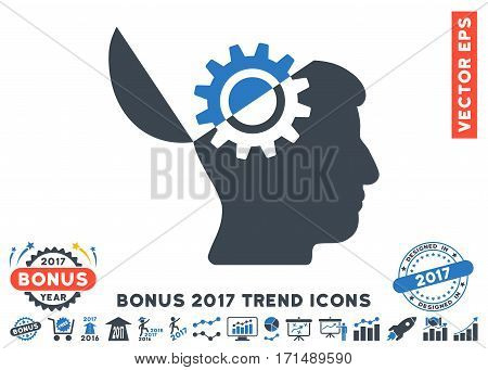Smooth Blue Open Mind Gear icon with bonus 2017 trend elements. Vector illustration style is flat iconic bicolor symbols white background.