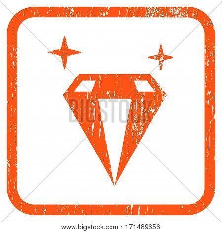 Sparkle Diamond Crystal rubber watermark. Vector icon symbol inside rounded rectangle with grunge design and dirty texture. Stamp seal illustration. Unclean orange ink sticker on a white background.