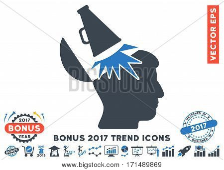 Smooth Blue Open Mind Megaphone pictograph with bonus 2017 year trend clip art. Vector illustration style is flat iconic bicolor symbols white background.