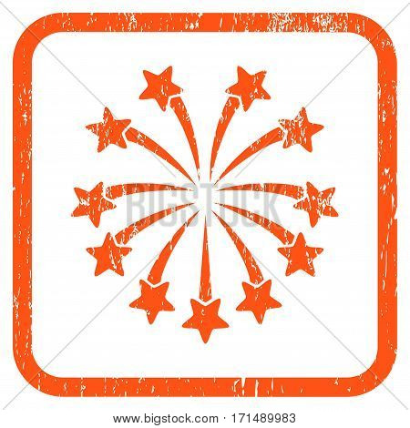 Spherical Fireworks rubber watermark. Vector icon symbol inside rounded rectangular frame with grunge design and unclean texture. Stamp seal illustration.