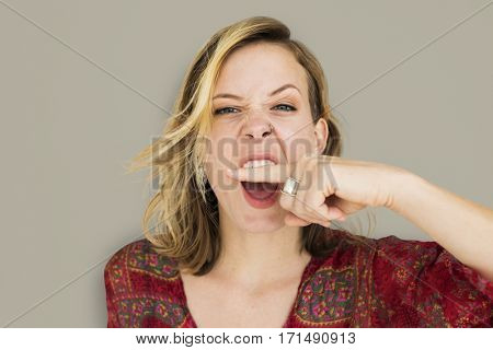 Woman Scream Shouting Furious Portrait Concept