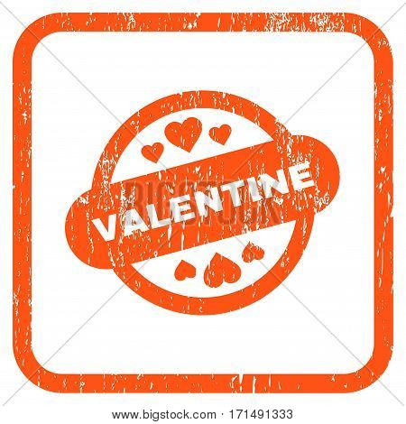 Valentine Stamp Seal rubber watermark. Vector icon symbol inside rounded rectangle with grunge design and dirty texture. Stamp seal illustration. Unclean orange ink emblem on a white background.