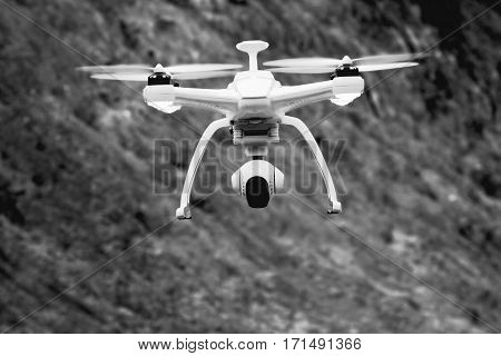 drone flying with black and white background