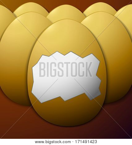 unshelled eggs in the middle on a brown background