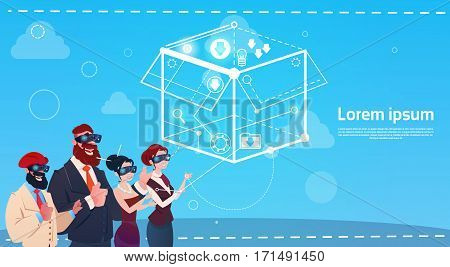 Mix Race Businesss People Group Wear Digital Reality Glasses Brainstorming Remote Workers Concept Flat Vector Illustration