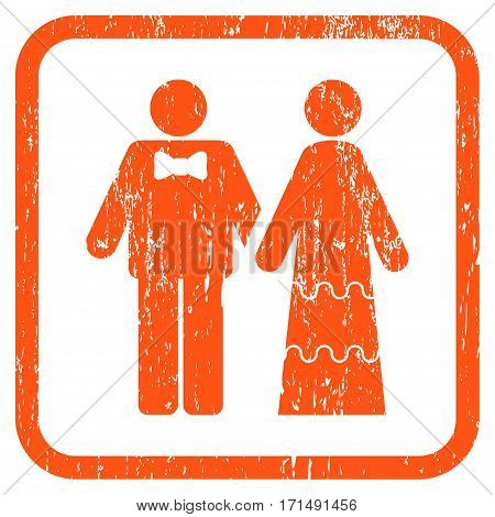 Wedding Persons rubber watermark. Vector icon symbol inside rounded rectangle with grunge design and dirty texture. Stamp seal illustration. Unclean orange ink emblem on a white background.