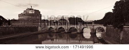 Castel Sant Angelo and bridge over River Tiber in Rome, Italy black and white.