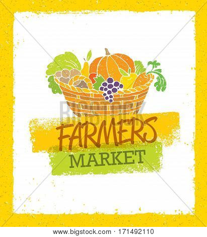 Farmers Market Creative Organic Local Food Vector Concept. Fresh Vegetables And Fruits Basket Local Food Illustration