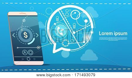 Cell Smart Phone Chat Bubble Digital Marketing Concept Flat Vector Illustration
