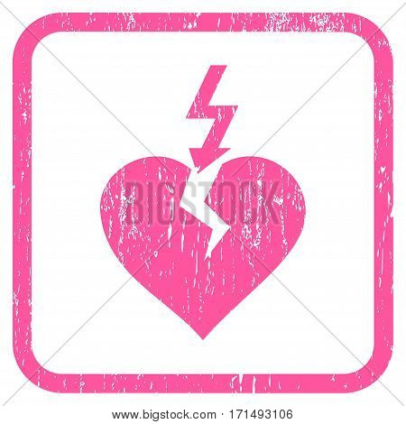 Break Heart rubber watermark. Vector icon symbol inside rounded rectangular frame with grunge design and dirty texture. Stamp seal illustration. Unclean pink ink sticker on a white background.
