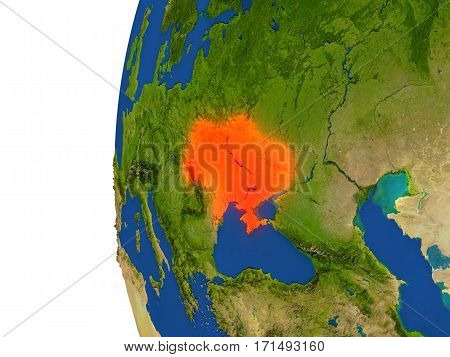 Ukraine On Globe