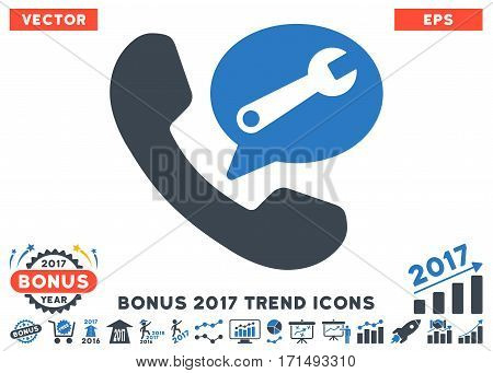 Smooth Blue Phone Service Message pictograph with bonus 2017 year trend pictograms. Vector illustration style is flat iconic bicolor symbols white background.