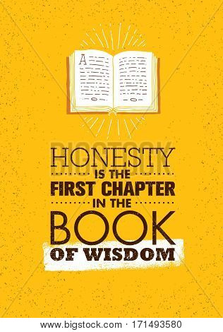 Honesty Is The First Chapter In The Book Of Wisdom. Strong Inspiring Creative Motivation Quote. Vector Typography Banner Design Concept